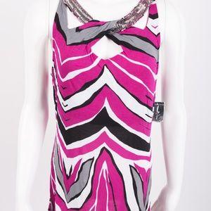 INC Tank Top Shirt Tunic Zebra Sequin Pink Black